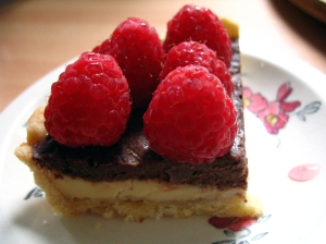 double choc raspberry pie